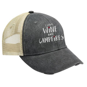 I Love Wine and Campfires - Distressed Trucker Cap