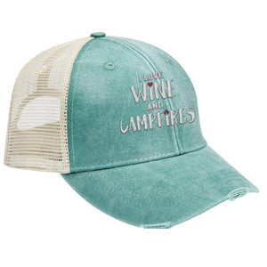I love wine and campfires - DISTRESSED TRUCKER CAP (MESH BACK)
