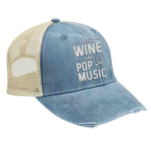I Love Wine and Pop Music - Distressed Trucker Cap (Mesh Back)