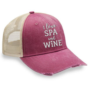 I Love Spa and Wine - Distressed Trucker Cap