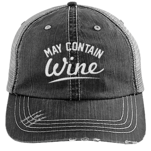 May Contain Wine - Distressed Trucker Cap