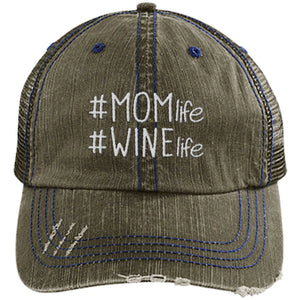 Mom Life Wine Life - Distressed Trucker Cap (Mesh Back)