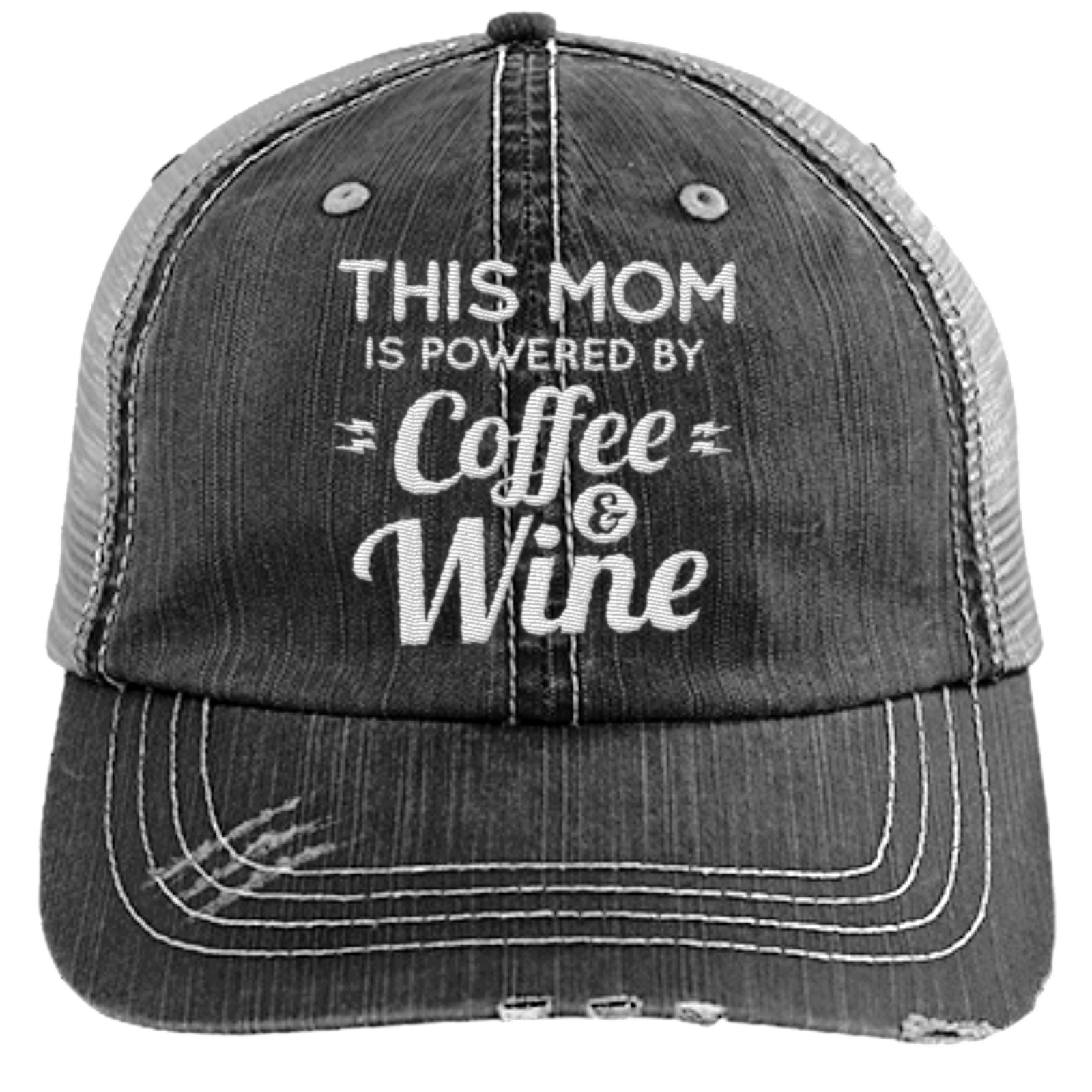 6cdba3bbe2a3e Mom Powered by Coffee and Wine - Distressed Trucker Cap (Mesh Back) - Eight  Wine Ten