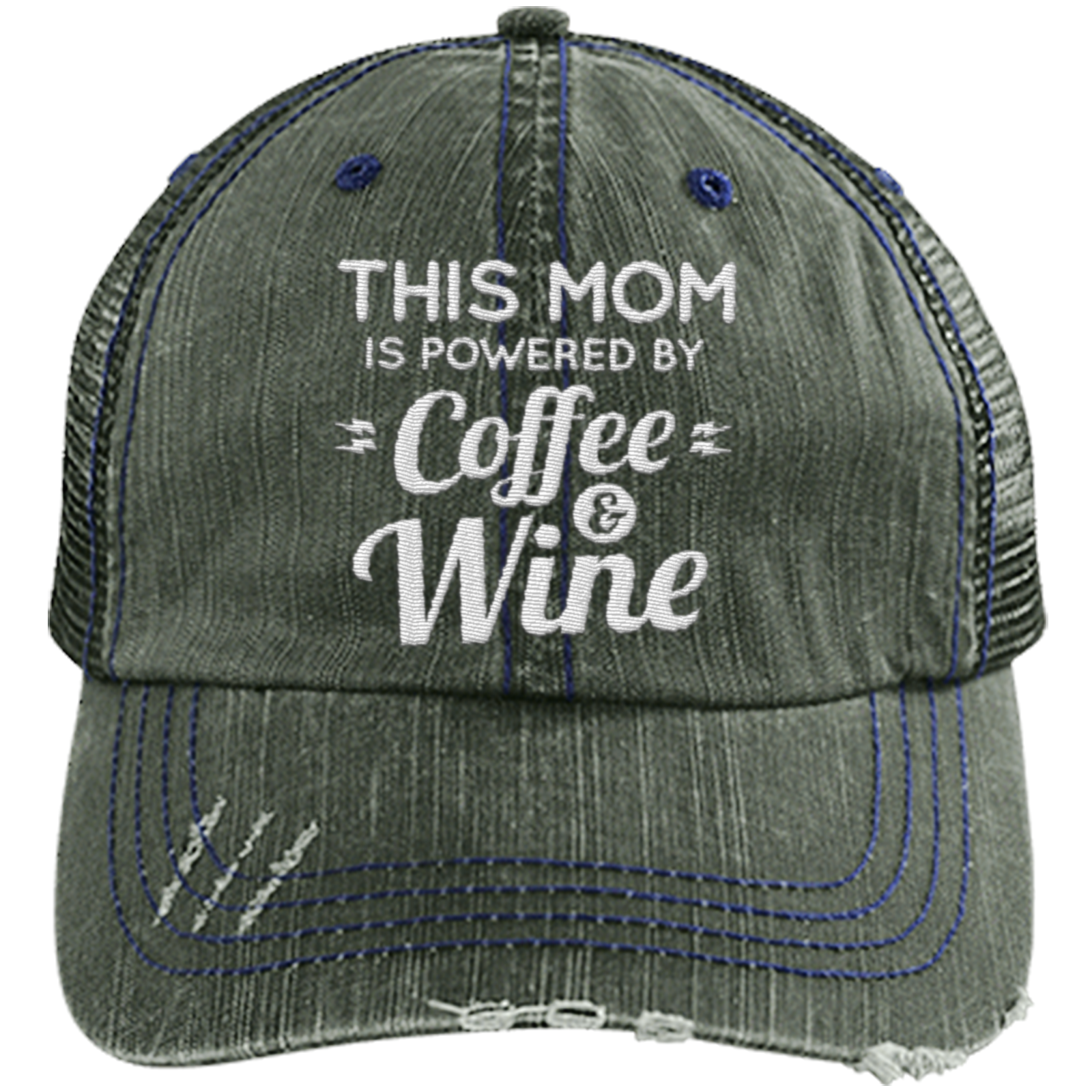 d396c41af6ec2 Mom Powered by Coffee and Wine - Distressed Trucker Cap (Mesh Back ...