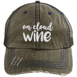 On Cloud Wine - Distressed Trucker Cap (Mesh Back)