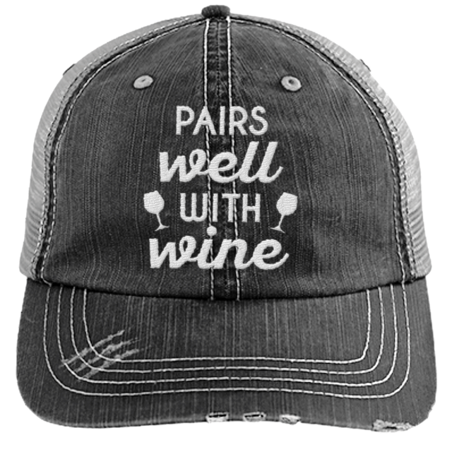 Pairs Well with Wine - Distressed Trucker Cap (Mesh Back)