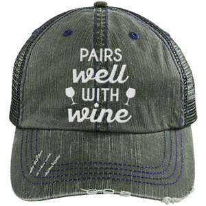Pairs Well with Wine - Distressed Trucker Cap