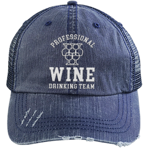 Professional Wine Drinking Team - Distressed Trucker Cap (Mesh Back)