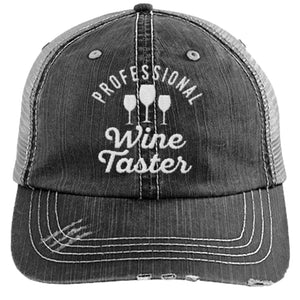 Professional Wine Taster - Distressed Trucker Cap (Mesh Back)