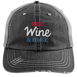 Red Wine & Blue - Distressed Trucker Cap (Mesh Back)