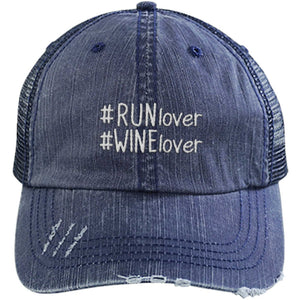 Run Lover Wine Lover Hashtag - Distressed Trucker Cap (Mesh Back)
