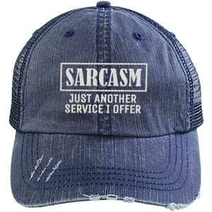 Sarcasm Service - Distressed Trucker Cap (Mesh Back)