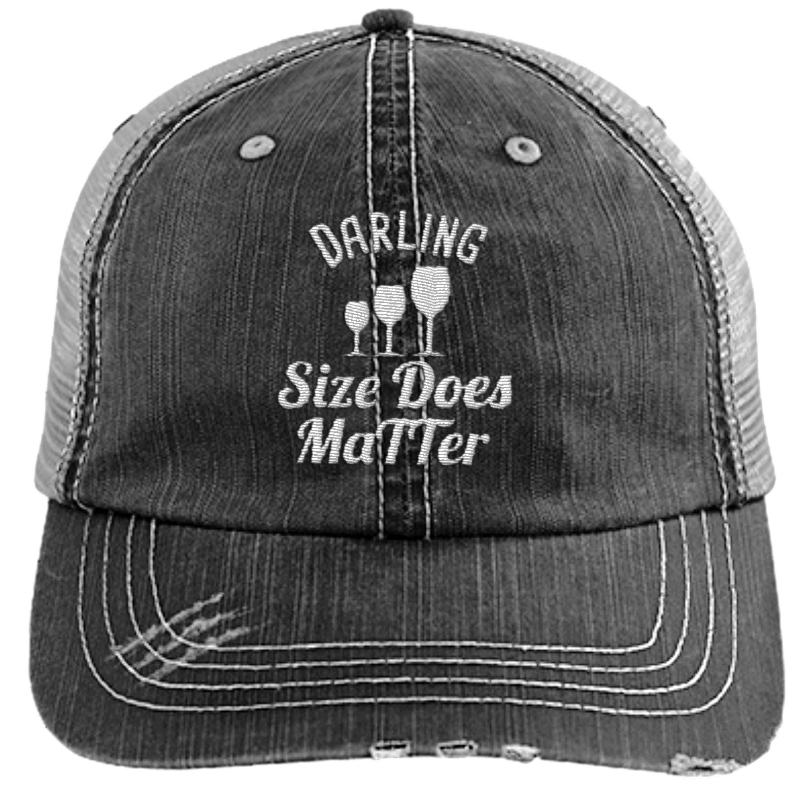 Darling Size Does Matter Distressed Trucker Cap (Mesh Back)