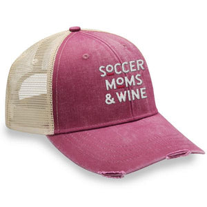 Soccer Moms and Wine - Distressed Trucker Cap