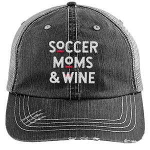 Soccer Moms and Wine - Distressed Trucker Cap (Mesh Back)