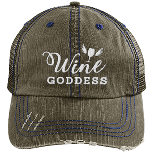 Wine Goddess Distressed Trucker Cap (Mesh Back)