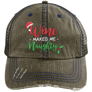 Wine Makes Me Naughty (Christmas) - Distressed Trucker Cap (Mesh Back)
