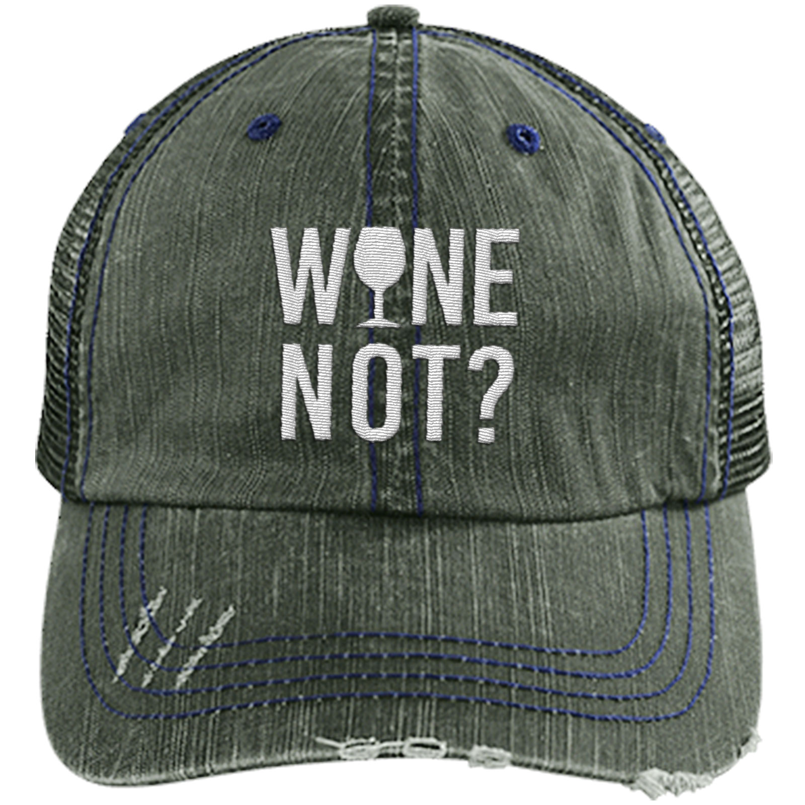 Wine Not - Distressed Trucker Cap (Mesh Back)