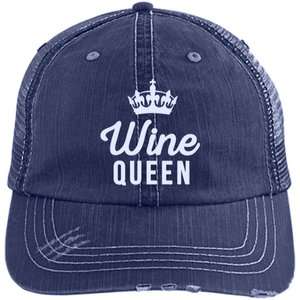 Wine Queen - Distressed Trucker Cap (Mesh Back)
