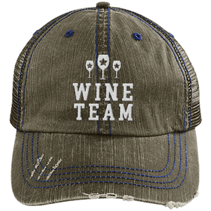 Wine Team - Distressed Trucker Cap