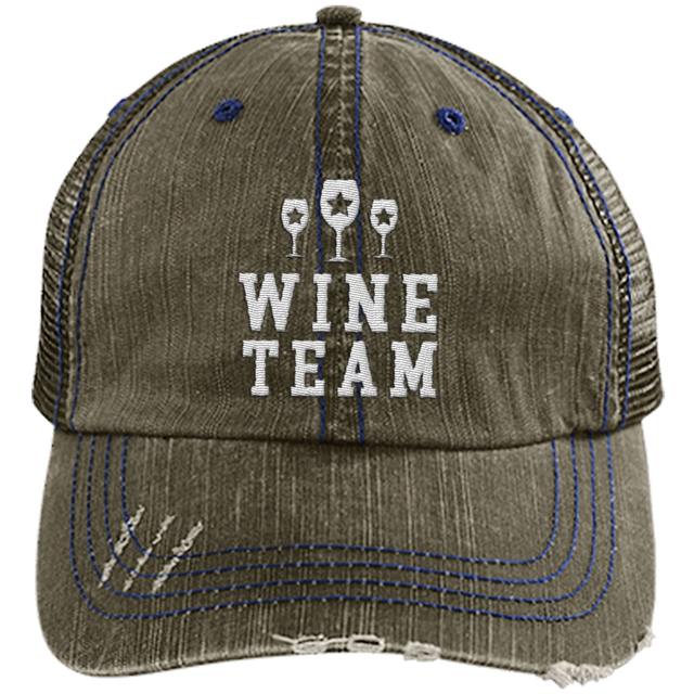 Wine Team Distressed Trucker Cap (Mesh Back)