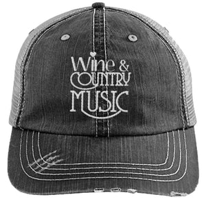Wine & Country Music - Distressed Trucker Cap (Mesh Back)