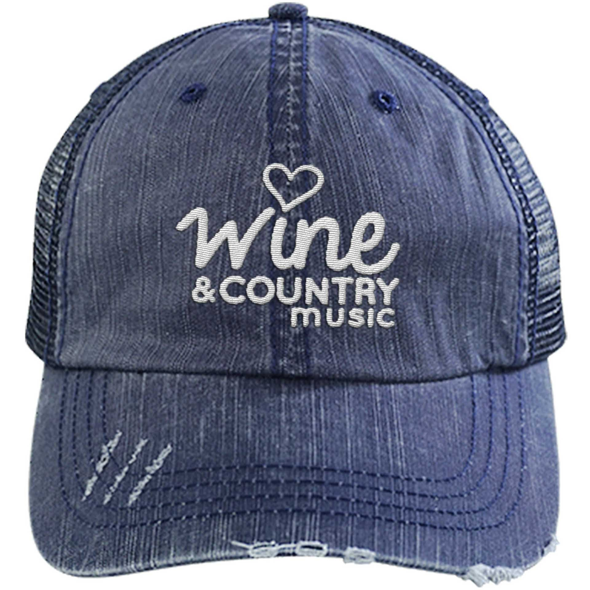 Wine & Country Music 2018 - Distressed Trucker Cap (Mesh Back)
