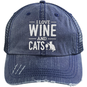 Wine and Cats - Distressed Trucker Cap