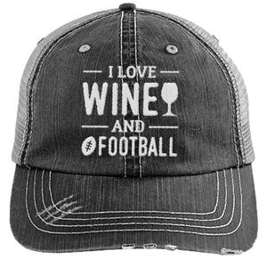 Wine and Football - Distressed Trucker Cap (Mesh Back)