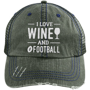 Wine and Football - Distressed Trucker Cap