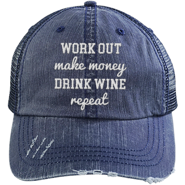 Work Out Make Money - Distressed Trucker Cap (Mesh Back)