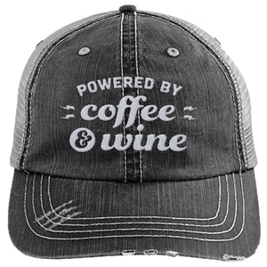 Powered by Coffee & Wine - Distressed Trucker Cap