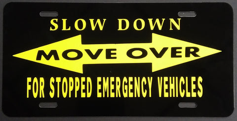 Slow Down - Move Over - Yellow/Black Plate
