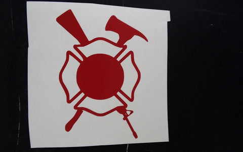 "3.25"" Maltese Cross with Axe and Assault Rifle - Red"