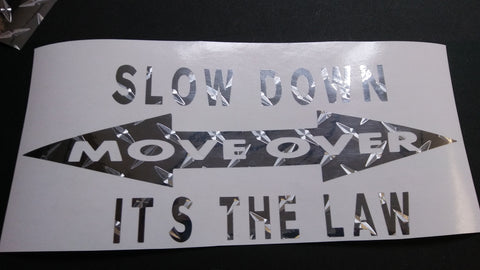 Holographic diamond plate slow down move over decal