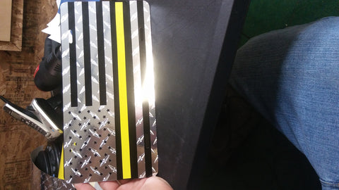 American flag thin yellow line plate
