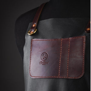 Premium Barber & Stylist Apron: Black Buffalo Leather - [Limited Edition]