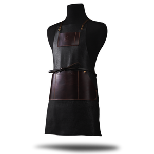 Premium Barber & Stylist Apron: Black Cowhide Leather - [Limited Edition]