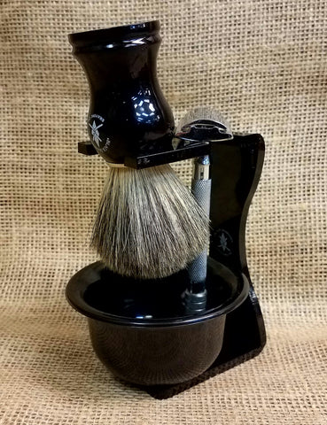 Black Diamond Brush, Stand, and Bowl