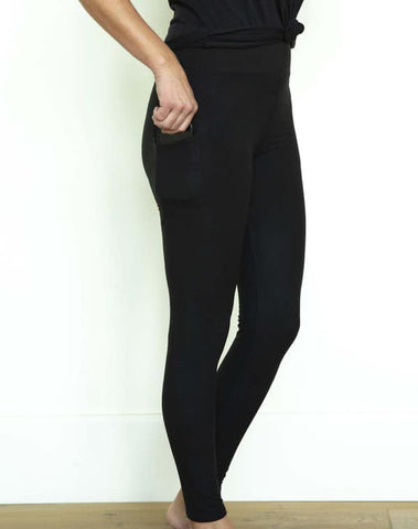 BOUTIQUE ONLY SIDE POCKET SOLID FULL LENGTH LEGGINGS - BLACK IN STOCK