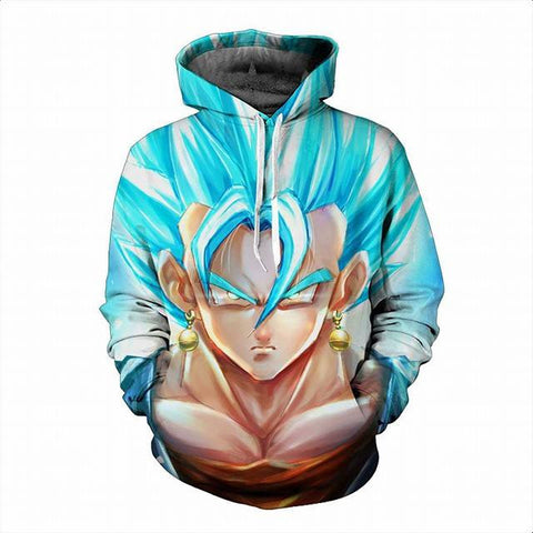 Blue Super Saiyan God Vegeto Dragon Ball Hoodie - Gamer Treasures