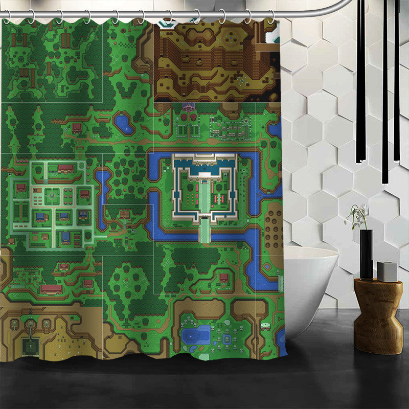 Link To The Past Light World Map.The Legend Of Zelda A Link To The Past Light World Shower Curtain