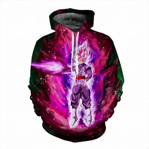 Super Saiyan God Black Goku in Space Dragon Ball Hoodie