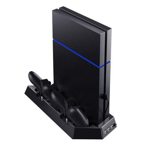 4-in-1 PS4 Vertical Charging Stand With Cooling Fan & USB Hub (Compatible with PS4 & PS4 Slim)