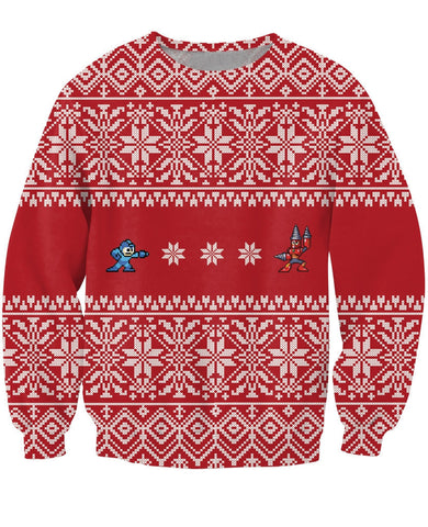 Mega Man Christmas Sweatshirt - Gamer Treasures