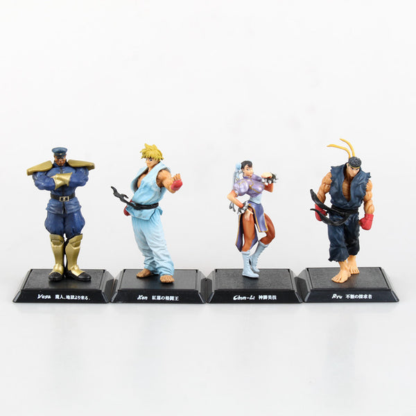 Street Fighter - Ryu, Ken, Chun Li & Vega PVC Action Figures 4pcs/set 9-11cm / 3.5-4.5 inches - Gamer Treasures