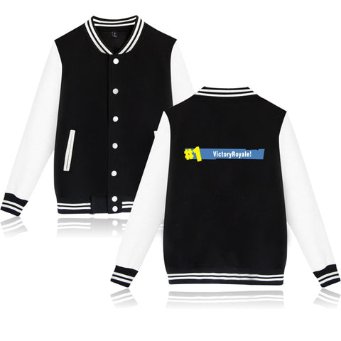 Victory Royale! Varsity Jacket in Black and White - Gamer Treasures