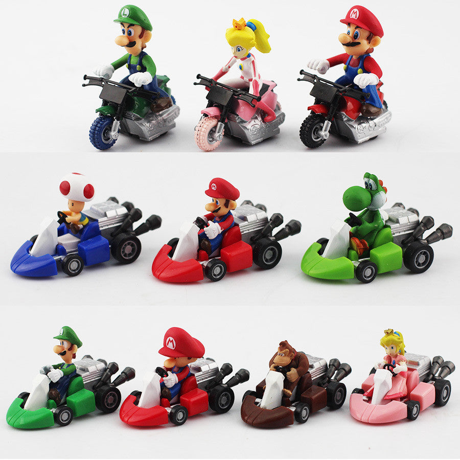 Super Mario Kart Pullback Cars 10pcs/set 3-5cm/1-2 inches