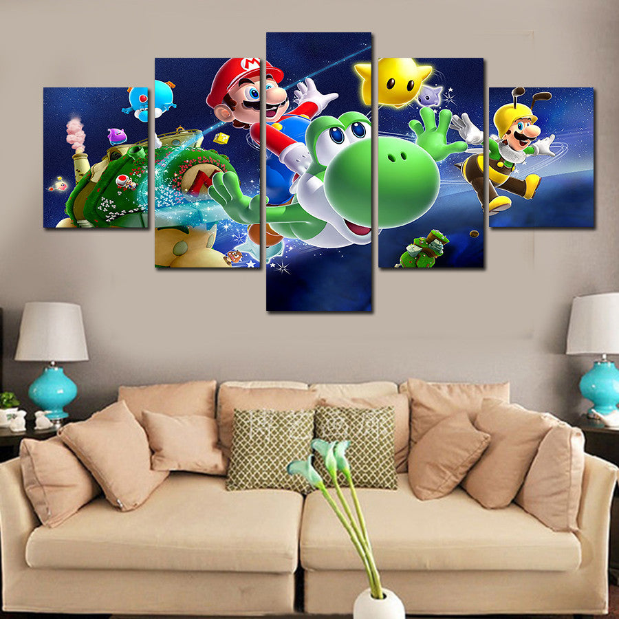 Super Mario Galaxy Unframed Five Panel Canvas Oil Painting - Gamer Treasures