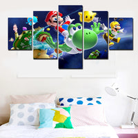 Super Mario Galaxy Unframed Five Panel Canvas Oil Painting